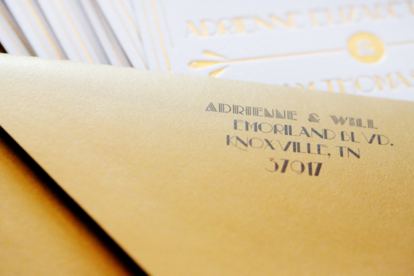 Gold Foil Art Deco Wedding Invitations 4th Year Studio7 Adrienne + Wills Glamorous Gold Foil Art Deco Wedding Invitations