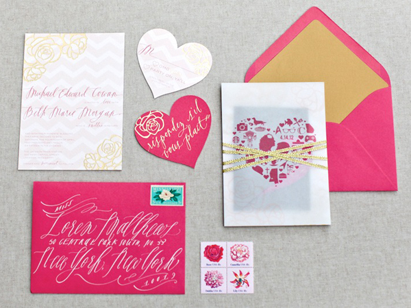 Pink Gold Foil Heart Wedding Invitations August Blume Best of 2013: Wedding Invitations