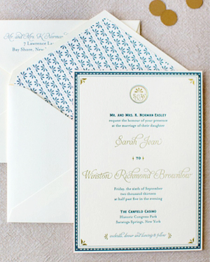 Blue Gold Letterpress Wedding Invitations JennyC Design2b Sarah + Winstons Navy, Gold, and Coral Letterpress Wedding Invitations