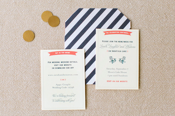 Blue Gold Letterpress Wedding Invitations JennyC Design4 Sarah + Winstons Navy, Gold, and Coral Letterpress Wedding Invitations
