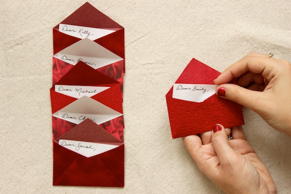 DIY Mini Love Letter Placecards OSBP 9 DIY Tutorial: Love Letter Dinner Party Placecards
