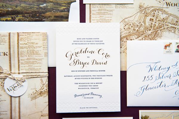 Elegant Gold Foil Wedding Invitations Gus Ruby Letterpress2 Geri + Bryces Elegant Gold Foil Wedding Invitations