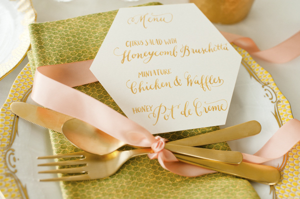 Hexagon Menu Kelly Cummings Spindle Photography Wedding Stationery Inspiration: Hexagons
