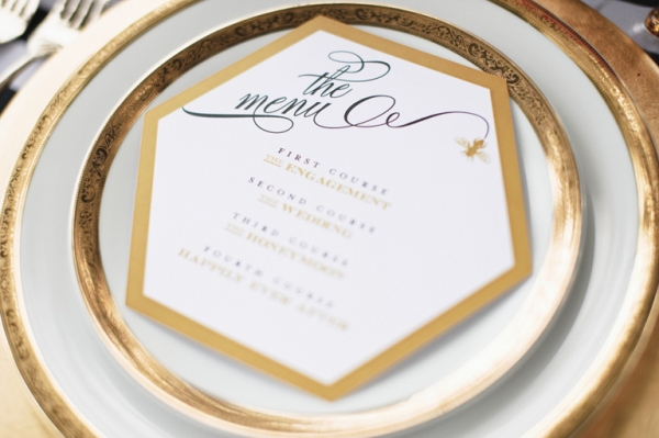 Hexagon Menu Nico and Lala Josh Gull Wedding Photography Wedding Stationery Inspiration: Hexagons