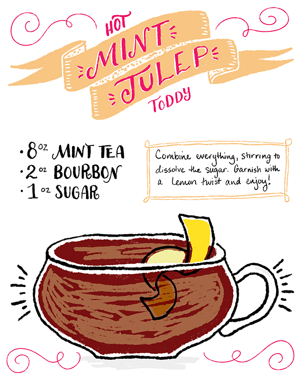 OSBP Signature Cocktail Recipe Card Hot Mint Julep Toddy Shauna Lynn Illustration Friday Happy Hour: Hot Mint Julep Toddy