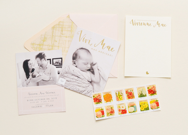 Peach Gold Girl Baby Announcements Val Marie Paper Vivi Maes Peach + Gold Birth Announcements