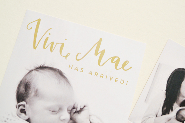 Peach Gold Girl Baby Announcements Val Marie Paper5 Vivi Maes Peach + Gold Birth Announcements