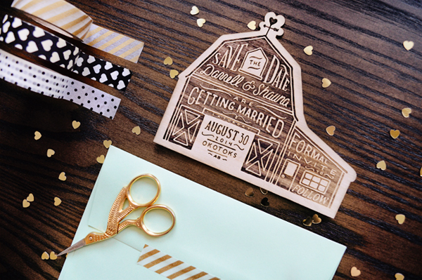 Rustic Etched Wood Barn Save the Dates Shauna Luedtke2 Shauna + Darrells Rustic Etched Wood Barn Save the Dates