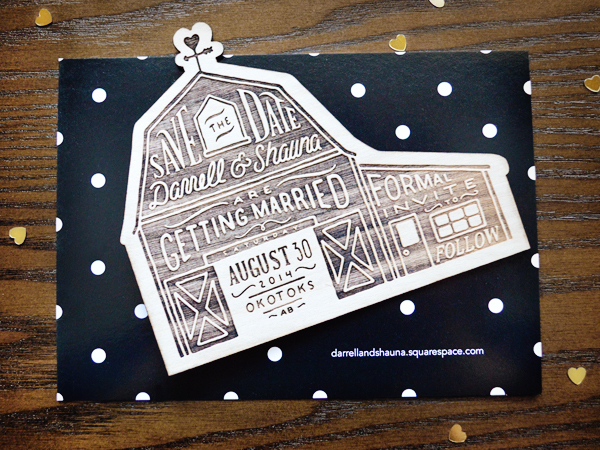 Rustic Etched Wood Barn Save the Dates Shauna Luedtke4 Shauna + Darrells Rustic Etched Wood Barn Save the Dates