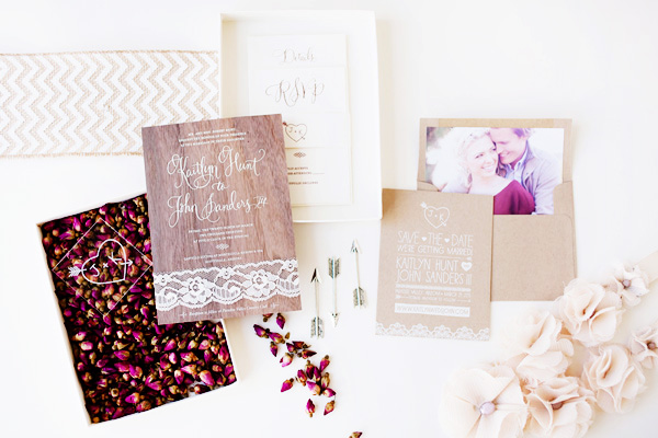 Rustic Glam Wood Lace Wedding Invitations Idieh Design Kaitlyn + Johns Rustic Glam Wedding Invitations
