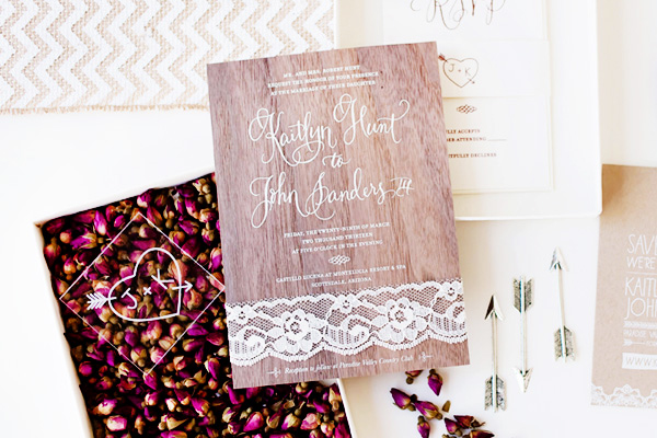 Rustic Glam Wood Lace Wedding Invitations Idieh Design2 Kaitlyn + Johns Rustic Glam Wedding Invitations