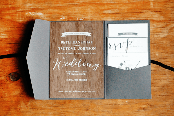 Screen Printed Rustic Walnut Wedding Invitations Peter Loves Jane3 Beth + Tomus Woodsy Screen Printed Walnut Wedding Invitations