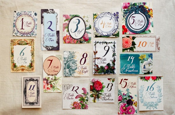 Bold Floral Table Numbers Lucky to Be in Love John Schnack Photography 600x396 Wedding Stationery Inspiration: Bold Florals