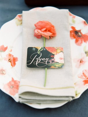 Bold Floral Wedding Place Cards Heart Felt by Bri Whitney Neal 300x398 Wedding Stationery Inspiration: Bold Florals