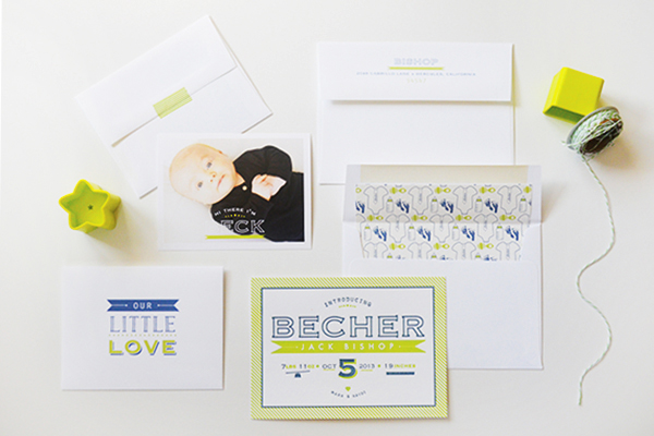 Chartreuse Letterpress Birth Announcement Maison Yellow5 Becks Chartreuse Letterpress Birth Announcements