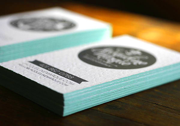 Gray White Edge Painted Letterpress Business Cards4 Crescent & Anchor Letterpress Business Cards