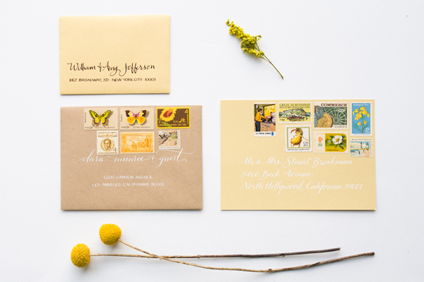 How To Mix Vintage Postage Underwood Letterpress Anne Robin Calligraphy Golden Sunshine Stationery Inspiration: Mixing Vintage Postage