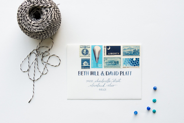 How To Mix Vintage Postage Underwood Letterpress Anne Robin Calligraphy Something Blue Stationery Inspiration: Mixing Vintage Postage