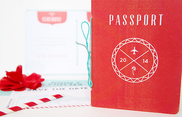 Red Aqua Passport Destination Wedding Invitations Two if by Sea Studios2 Chelsea + Johns Colorful Passport Wedding Invitations