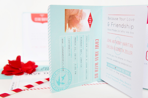 Red Aqua Passport Destination Wedding Invitations Two if by Sea Studios3 Chelsea + Johns Colorful Passport Wedding Invitations