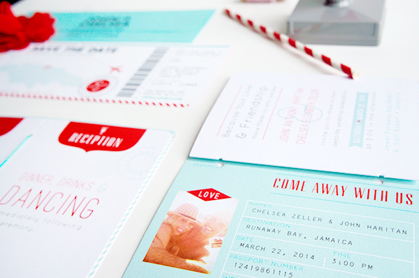 Red Aqua Passport Destination Wedding Invitations Two if by Sea Studios7 Chelsea + Johns Colorful Passport Wedding Invitations
