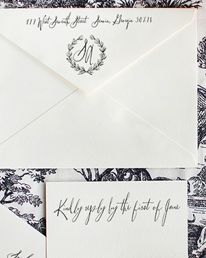 Toile Pattern Wedding Invitations Lucky Luxe Couture Correspondence3 Sarah + Alans Modern Toile Wedding Invitations