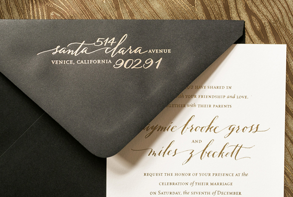 Calligraphy Gold Foil Wedding Invitations Atheneum Creative11 Jaymie + Miless Calligraphy Gold Foil Wedding Invitations