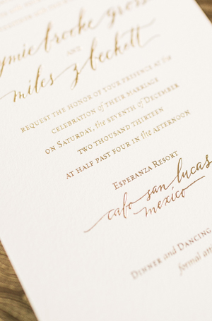 Calligraphy Gold Foil Wedding Invitations Atheneum Creative4 Jaymie + Miless Calligraphy Gold Foil Wedding Invitations