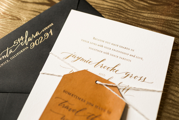 Calligraphy Gold Foil Wedding Invitations Atheneum Creative9 Jaymie + Miless Calligraphy Gold Foil Wedding Invitations