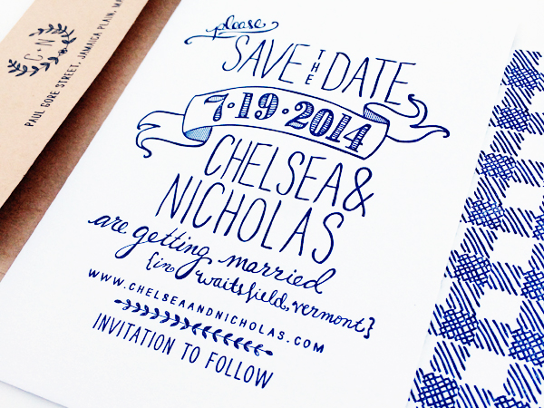 Hand Drawn Gingham Letterpress Save the Dates Robinson Press Chelsea + Nicks Hand Drawn Gingham Save the Dates
