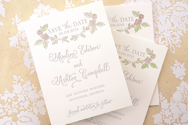 Hand tinted Save the Date Final 5 DIY Tutorial: Hand Tinted Letterpress Save the Dates