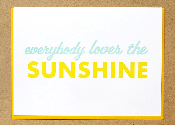 Letterpress Greeting Card Macon York Sunshine Quick Pick: Macon York