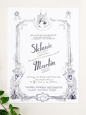Whimsical Black White Illustrated Wedding Invitations Paulina Ortega2 Stefanie + Martins Whimsical Illustrated Wedding Invitations