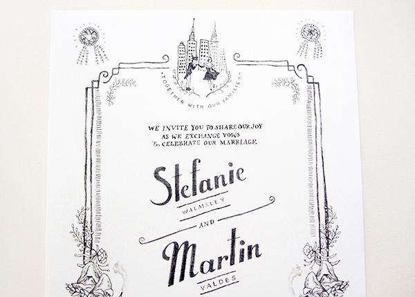 Whimsical Black White Illustrated Wedding Invitations Paulina Ortega6 Stefanie + Martins Whimsical Illustrated Wedding Invitations