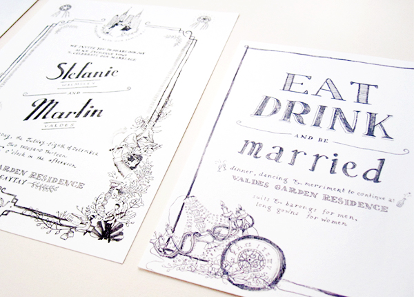 Whimsical Black White Illustrated Wedding Invitations Paulina Ortega8 Stefanie + Martins Whimsical Illustrated Wedding Invitations