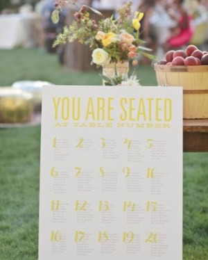 Yellow Wedding Seating Chart Love vs Design Joie Lala Photographie 300x374 Wedding Stationery Inspiration: Sunshine Yellow