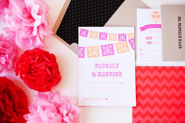 Cinco De Mayo Wedding Invitations idieh design Pascale + Maurices Colorful Cinco De Mayo Wedding Invitations