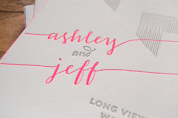 Neon Pink Modern Calligraphy Wedding Invitations4 Ashley + Jeffs Modern Chic Neon Pink Wedding Invitations