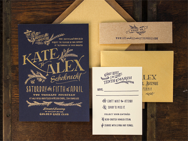 Rustic Elegant Letterpress Gold Foil Wedding Invitations Ladyfingers Letterpress2 Kate + Alexs Elegant Rustic Wedding Invitations