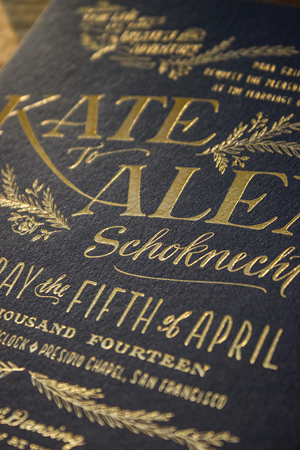 Rustic Elegant Letterpress Gold Foil Wedding Invitations Ladyfingers Letterpress5 Kate + Alexs Elegant Rustic Wedding Invitations