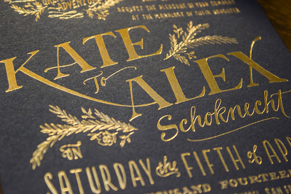 Rustic Elegant Letterpress Gold Foil Wedding Invitations Ladyfingers Letterpress9 Kate + Alexs Elegant Rustic Wedding Invitations