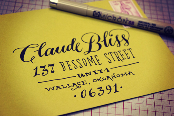 Hand Lettering Envelope Address Tutorial Ladyfingers Letterpress OSBP4 Envelope Address Hand Lettering Tutorial from Ladyfingers Letterpress