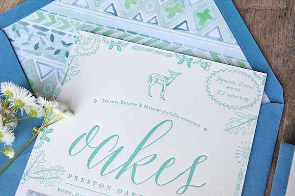 Letterpress Baby Announcement Ideas Tenn Hens Designs OSBP3 Oakess Nature Inspired Letterpress Baby Announcements