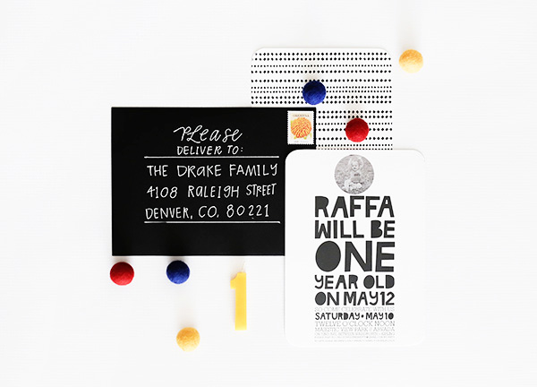 Modern Black White First Birthday Party Invitation Hello There Design OSBP5 Raffas Modern First Birthday Party Invitations