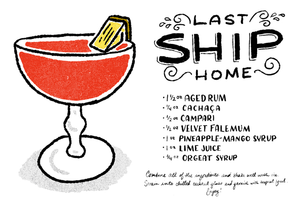 Signature Cocktail Recipe Card The Last Ship Home Shauna Lynn Illustration OSBP Friday Happy Hour: The Last Ship Home