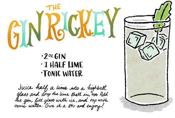 Signature Cocktail Recipe The Gin Rickey Shauna Lynn Illustration OSBP Friday Happy Hour: The Gin Rickey (Revisited)