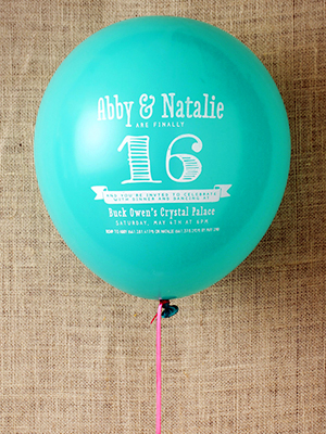 Sweet Sixteen Party Invitation Balloons Cristina Pandol OSBP Abby + Natalies Sweet Sixteen Balloon Party Invitations
