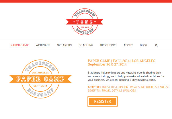 TSBC Paper Camp1 NSS 2014: Tradeshow Bootcamp (+ New Website!)