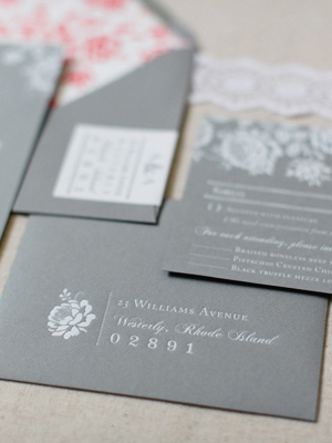 Gray White Foil Floral Wedding Invitations Paper Moss OSBP7 Ashley + Anthonys Gray and White Foil Wedding Invitations
