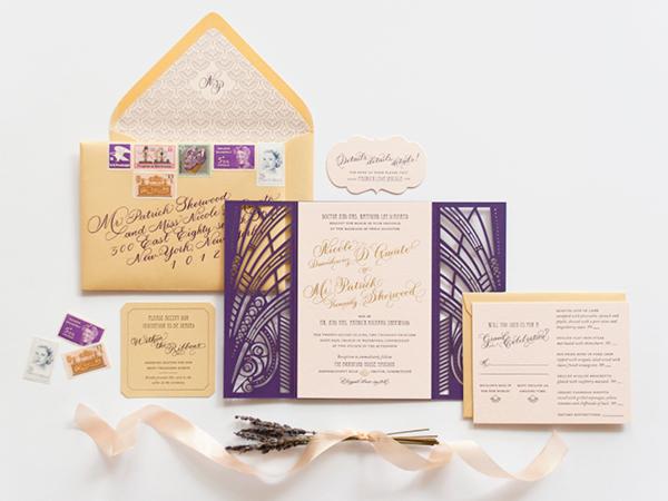 Lasercut Great Gatsby Wedding Invitations Coral Pheasant OSBP Nicole + Patricks Vintage Inspired Lasercut Wedding Invitations